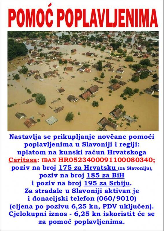 Pomoć poplavljenim područjima Slavonije i regije