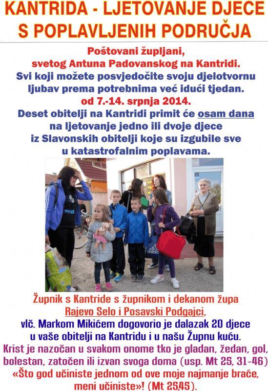 DJECA S POPLAVLJENIH PODRUČJA NA KANTRIDI - od 7.-14. srpnja 2014.