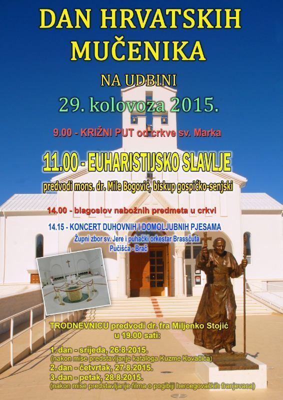 29. kolovoza 2015. - Dan hrvatskih mučenika na Udbini