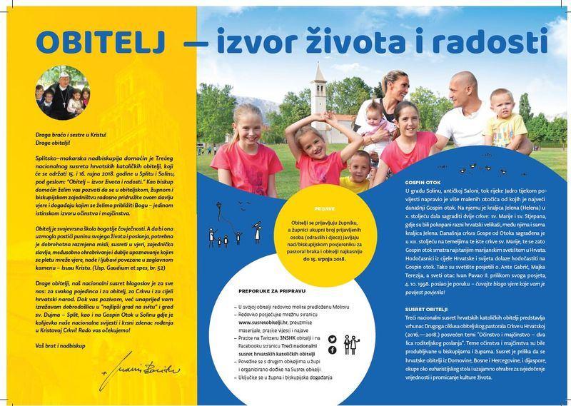 15. i 16. rujna 2018. - Treći nacionalni susret hrvatskih katoličkih obitelji