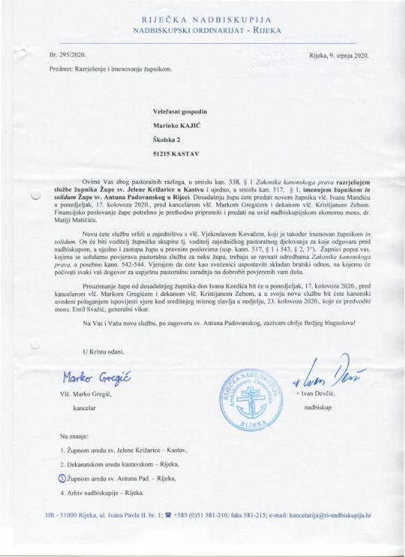 Razrješenja i imenovanja  župnika na Kantridi - srpanj 2020.