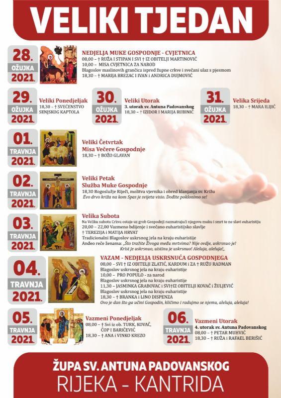 Raspored liturgijskih slavlja i obreda tijekom uskrsnog vremena